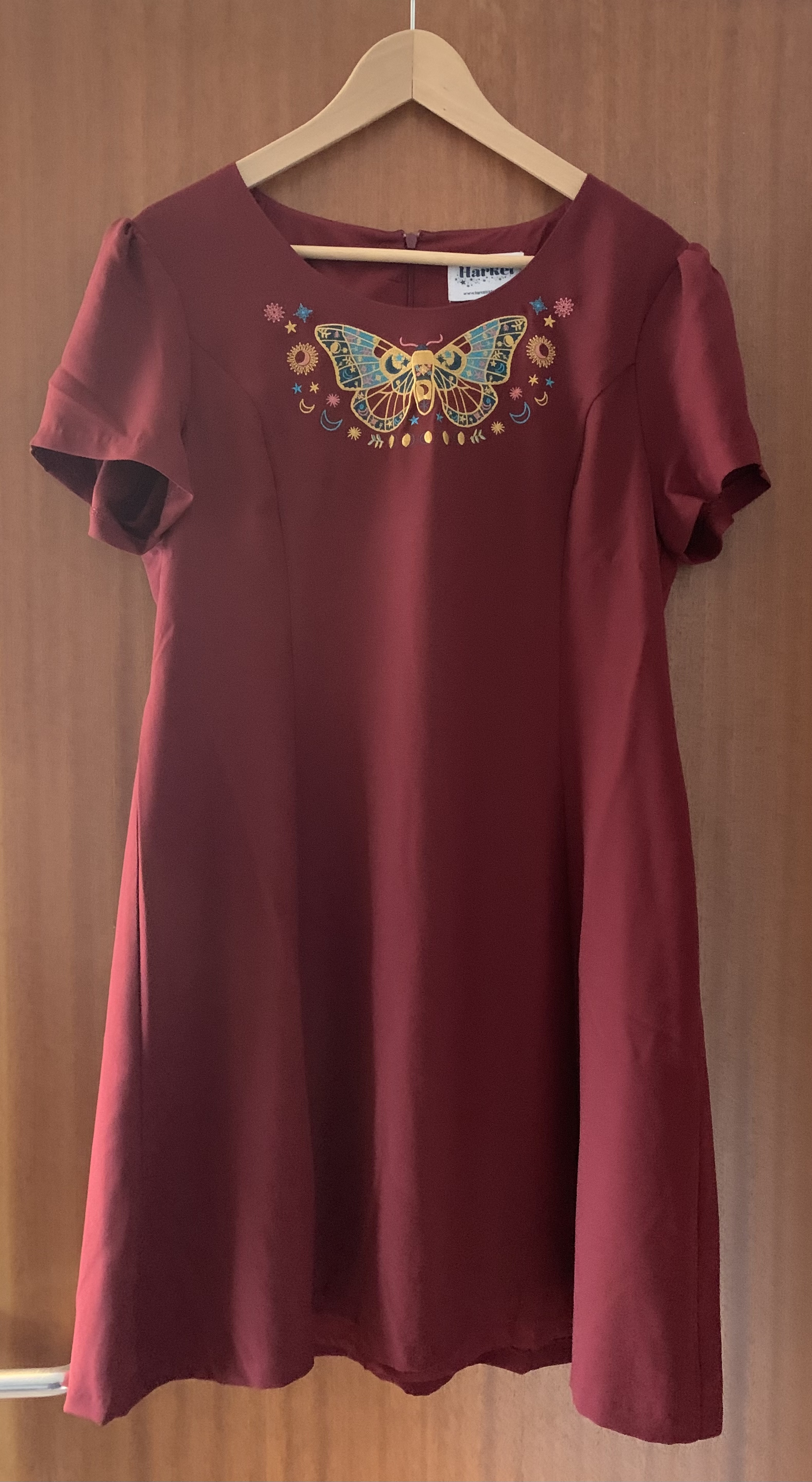Image of Harkel Maroon Dress with Butterfly Motif