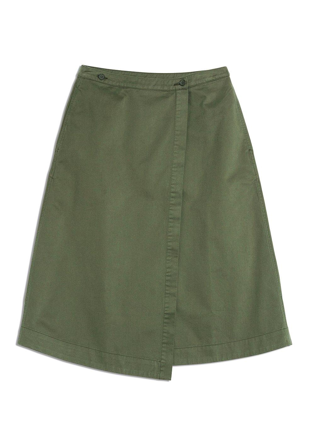 Image of Armedangels  Khaki canvas cotton wrap skirt