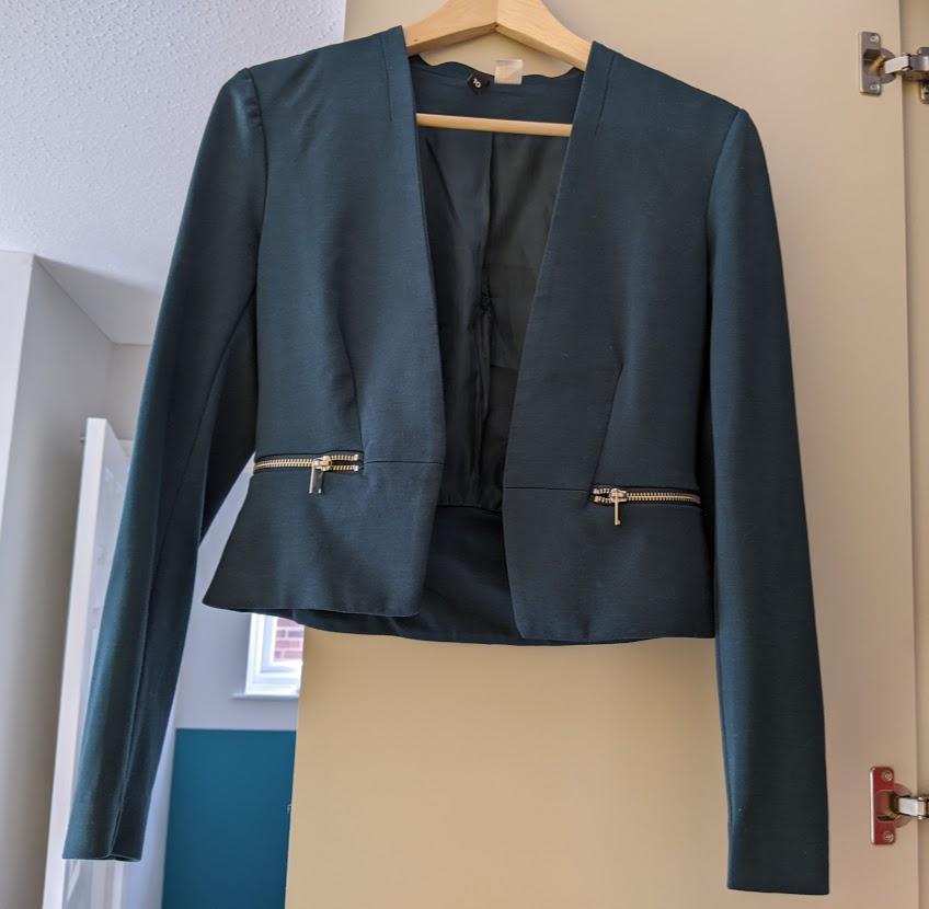 Image of H&M Teal Cropped Jacket
