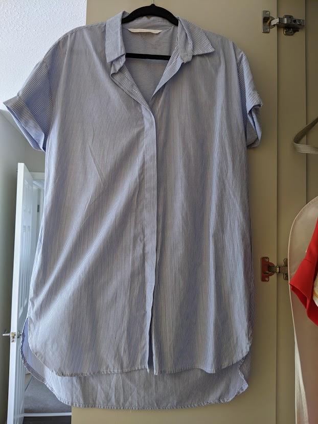 Image of Zara Blue and White Striped Shirt Dress