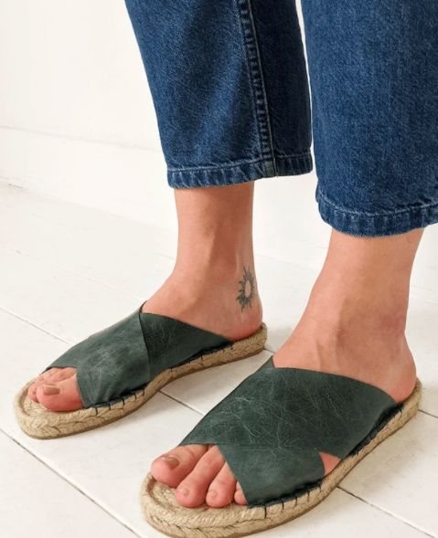 Image of JUTA Green Marble Reclaimed Leather Crossover Sandal