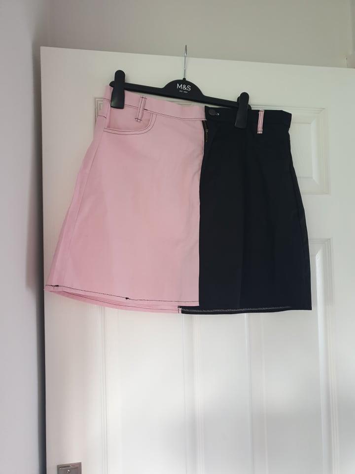 Image of Jungle Club Black and pink split colour mini skirt