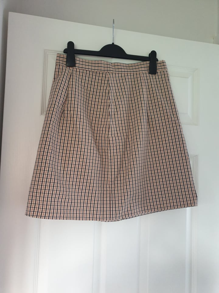 Image of Emperors Old Clothes Neutral tone check gingham mini skirt A Line