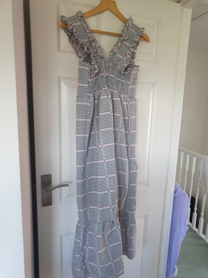 Image of With Love Evie BRAND NEW Maxi Smock Dress Gingham with Hearts