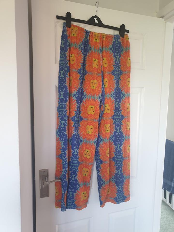 Image of Studio Zipcode Funky comfy Lion print trousers, elastic waist