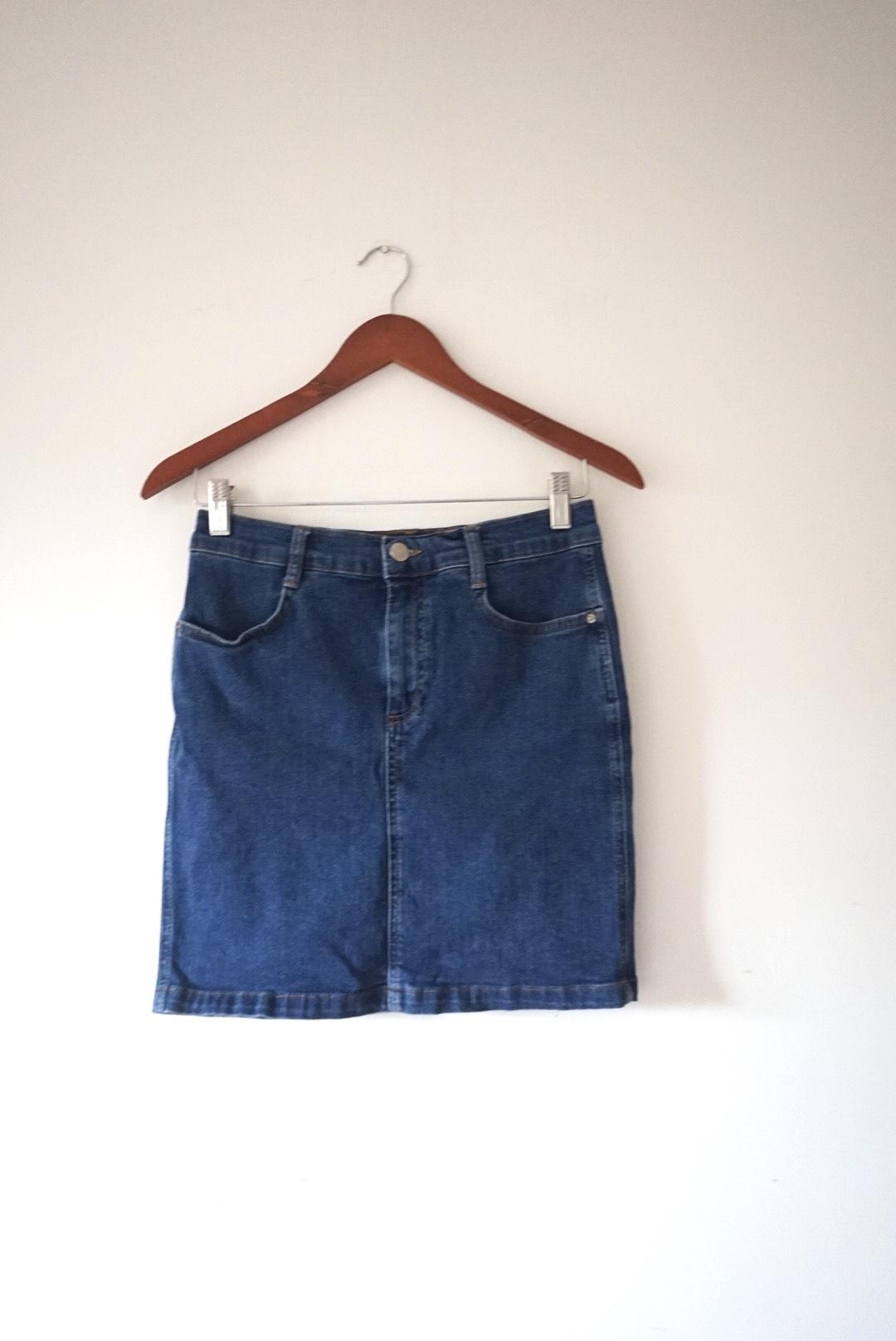 Image of Denim & Co Denim & Co High Waist Blue Denim Mini Skirt UK 12
