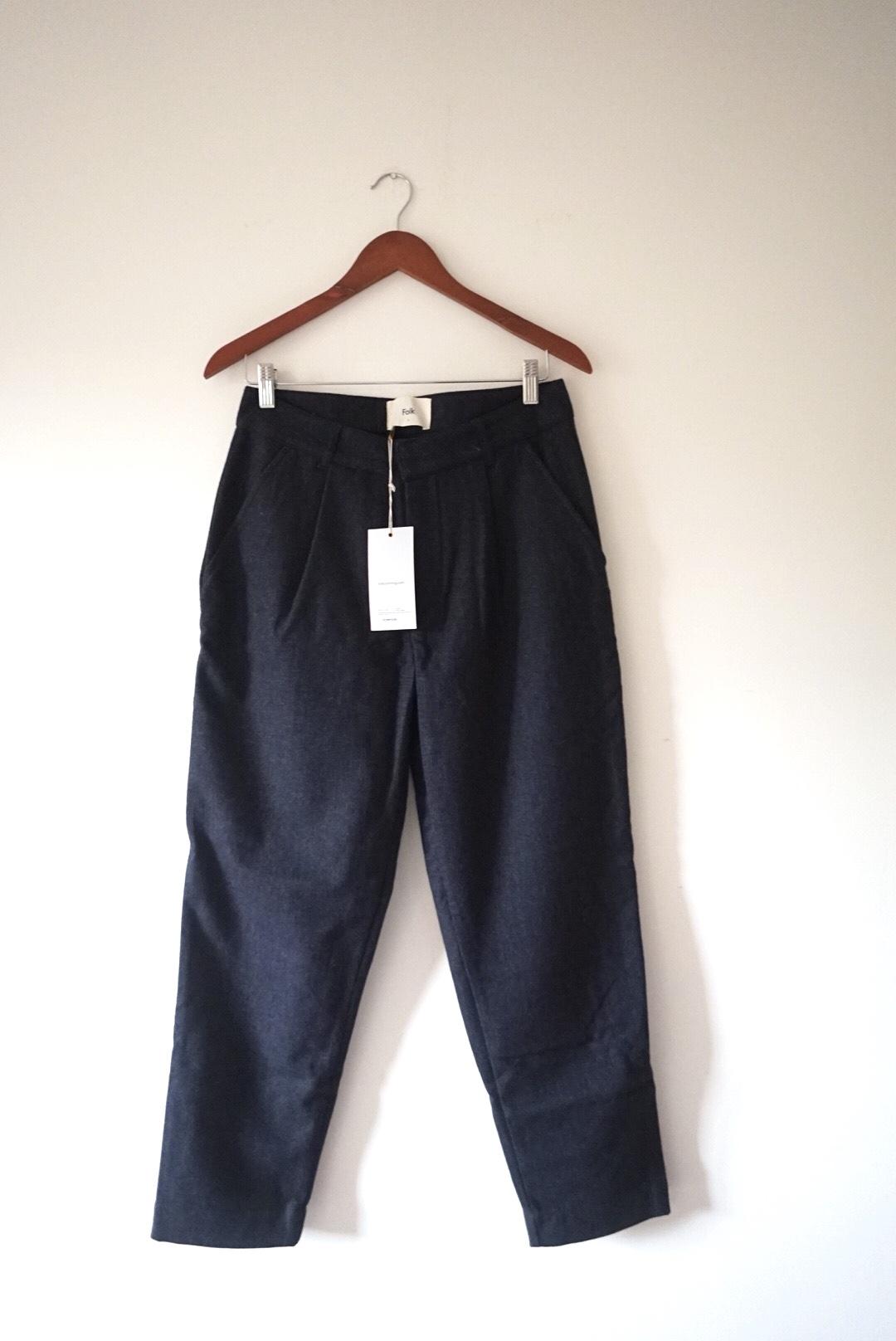 Image of Folk Folk Men Wool Tailored Navy Pinstripe Trousers Size S