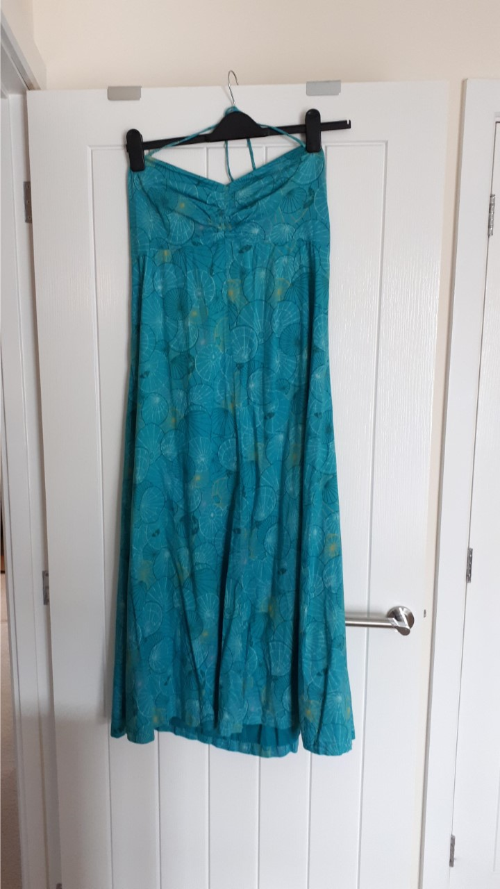 Image of White Stuff This is a turquoise print summer maxi Dress size 16