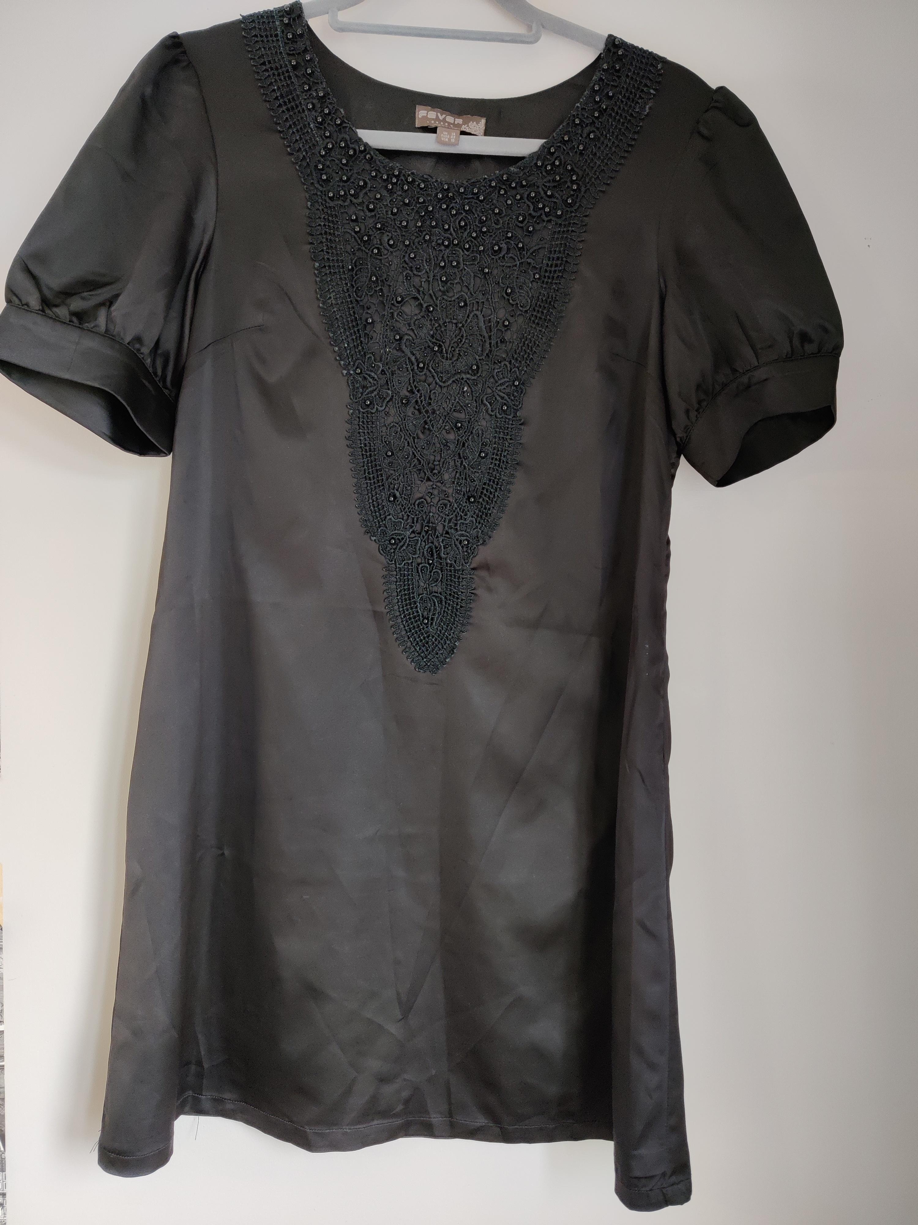 Image of Fever Embroidered black shift dress