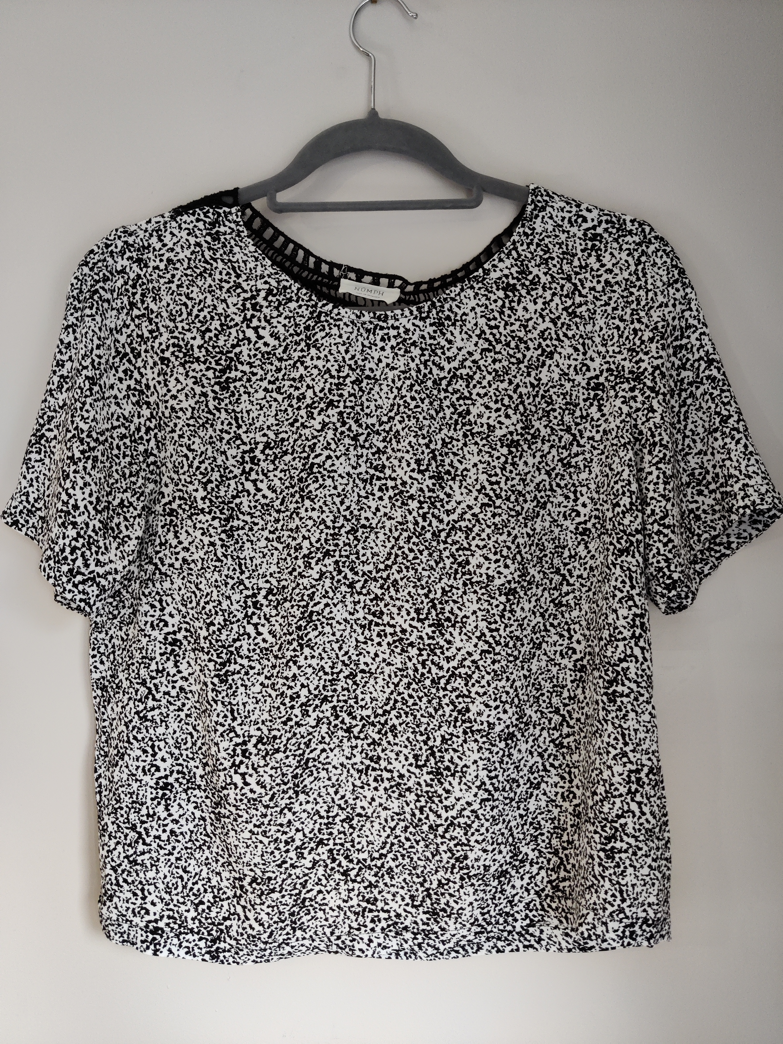 Image of Numph Patterned t-shirt with woven back detail