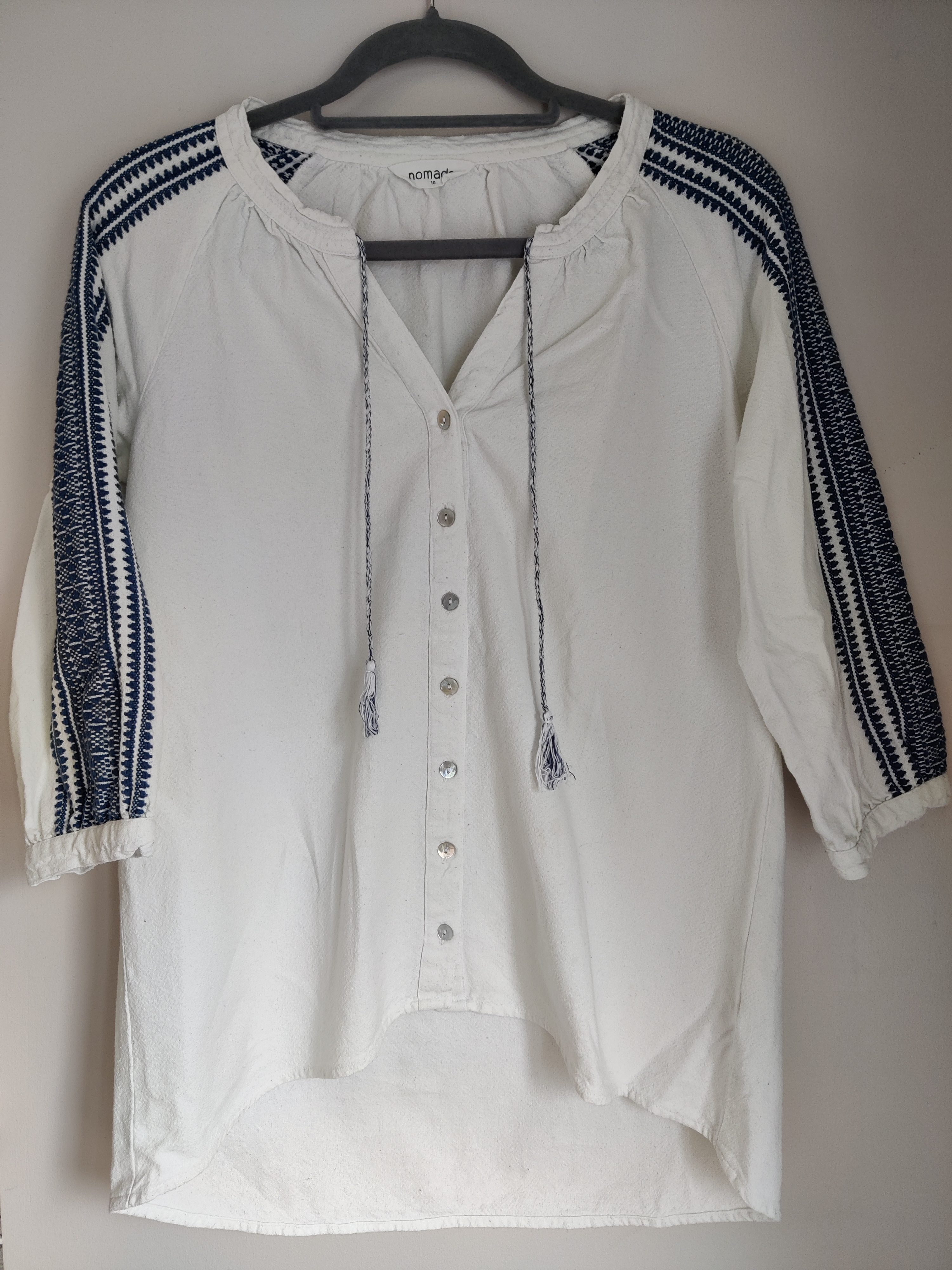 Image of Nomads Embroidered white top