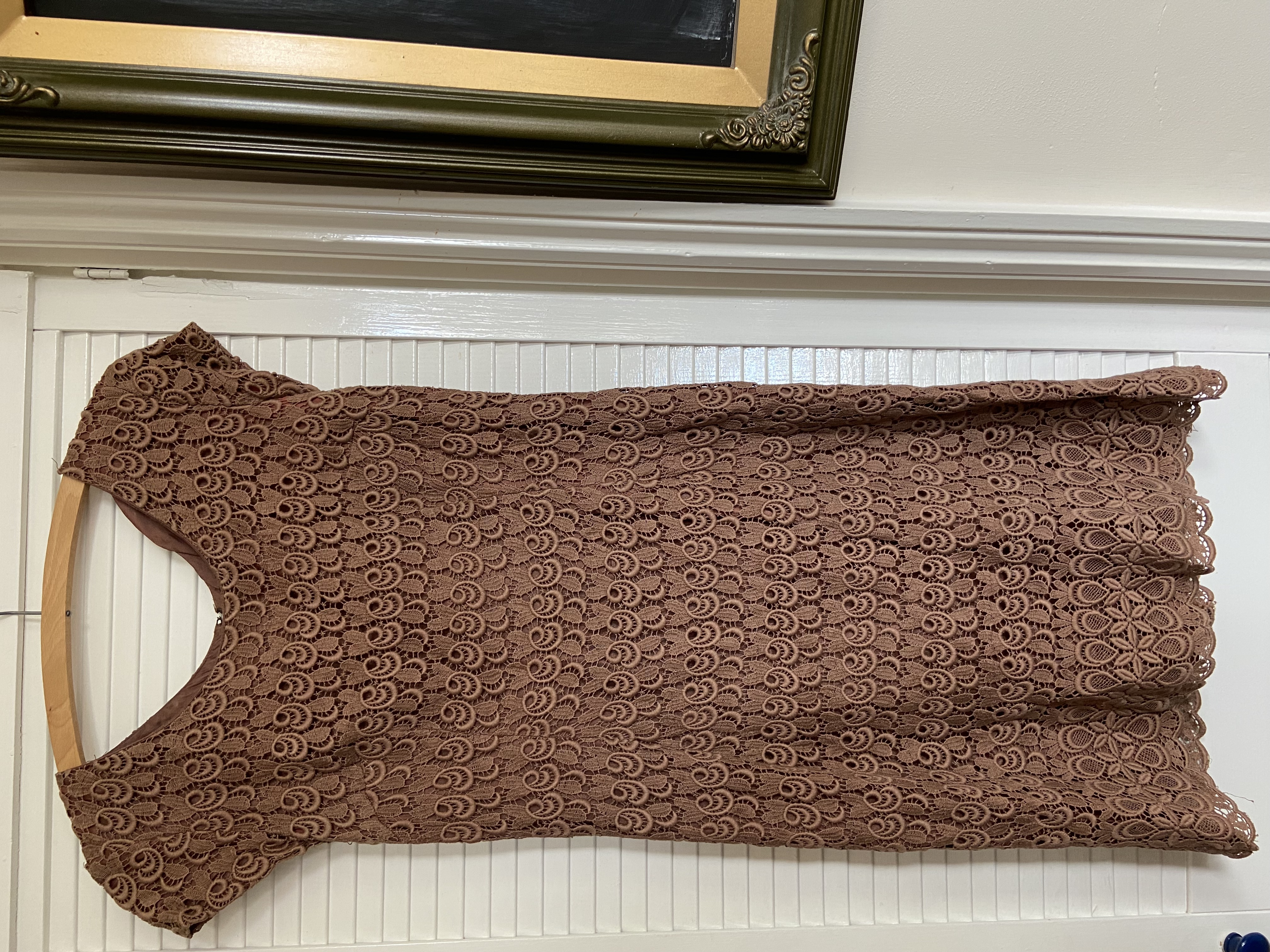 Image of Vintage Brown broderie anglaise dress