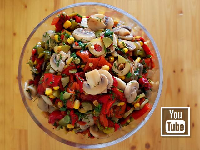 Közlenmiş Biberli Mantar Salatası Tarifi