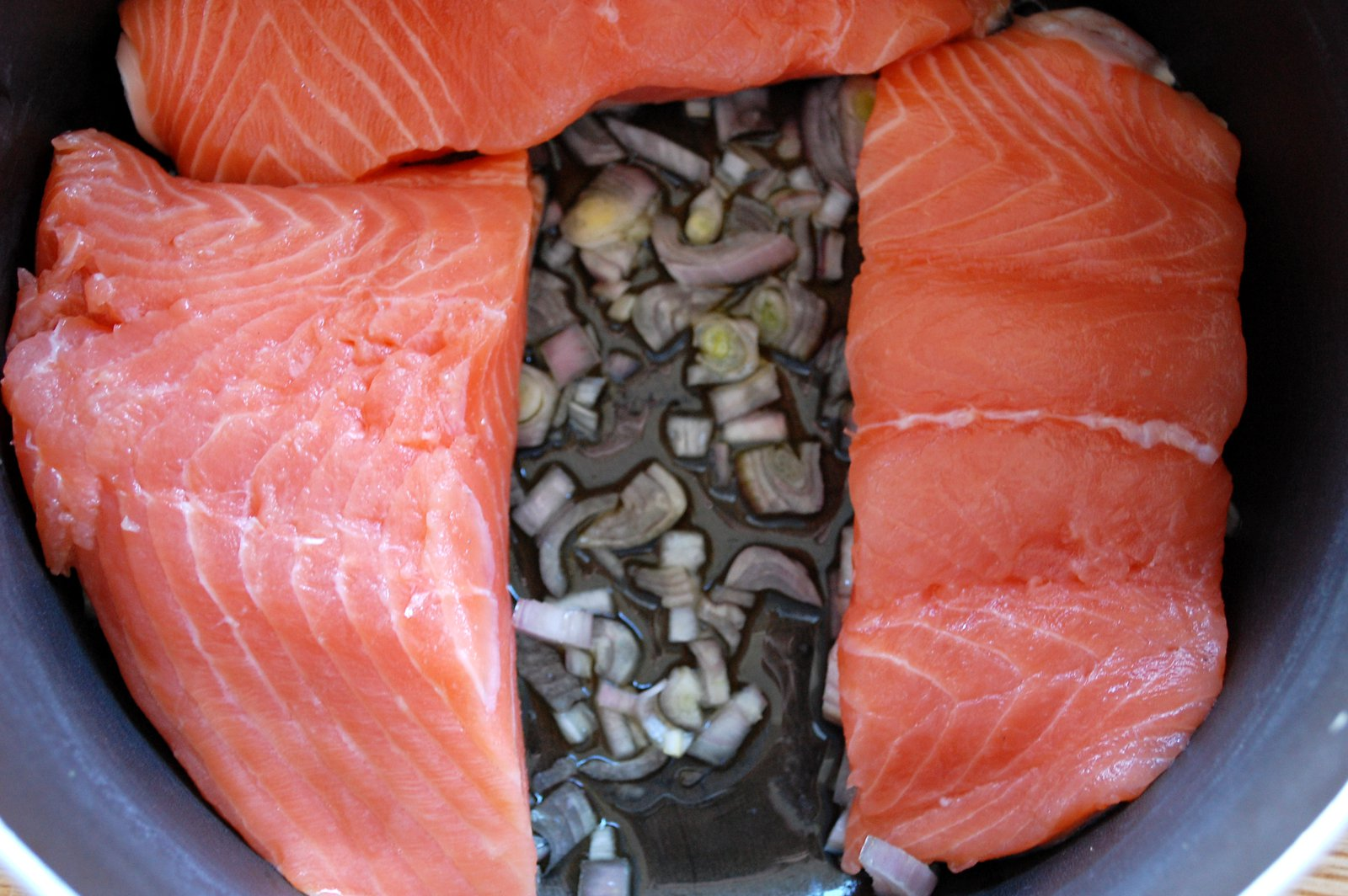 Salmon Fillets On Shallot Base
