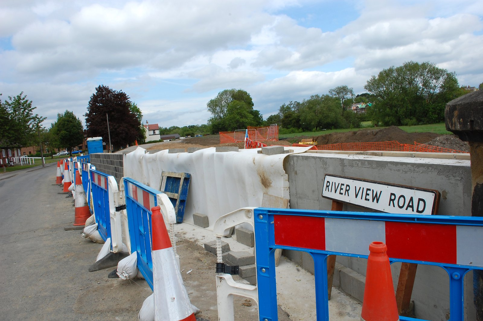 Barriers By New River Wall On River View Road (not much of a view now!)