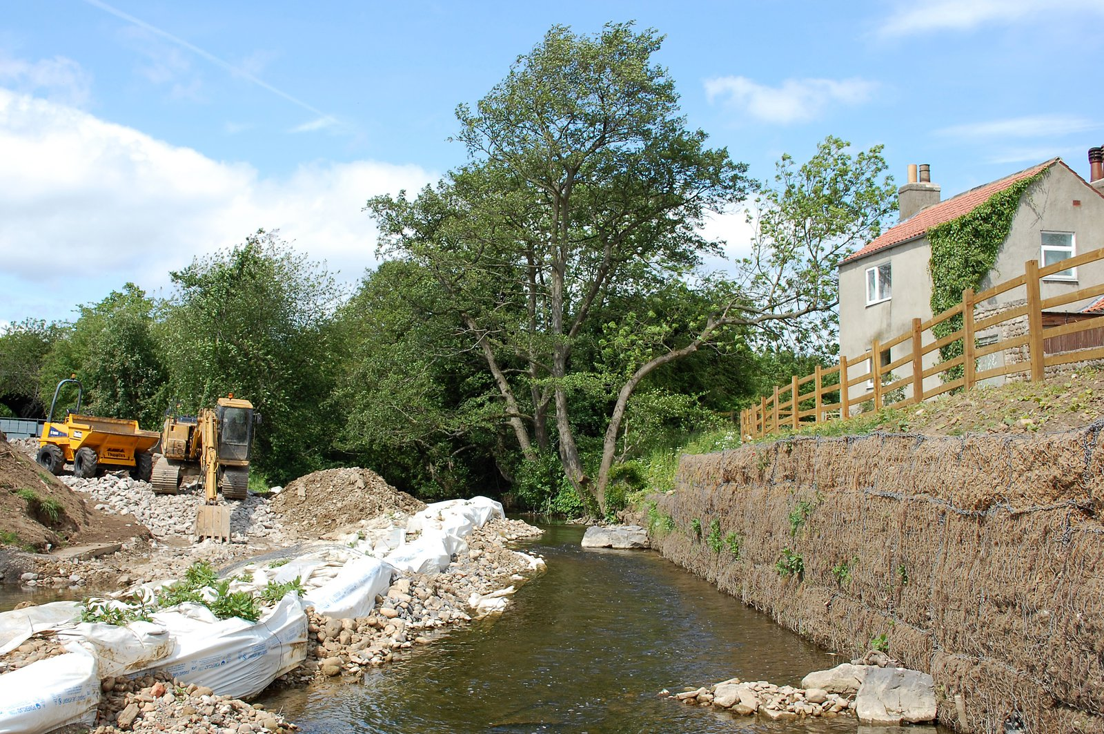 Gabion Baskets On River Skell At Fisher Green In Ripon