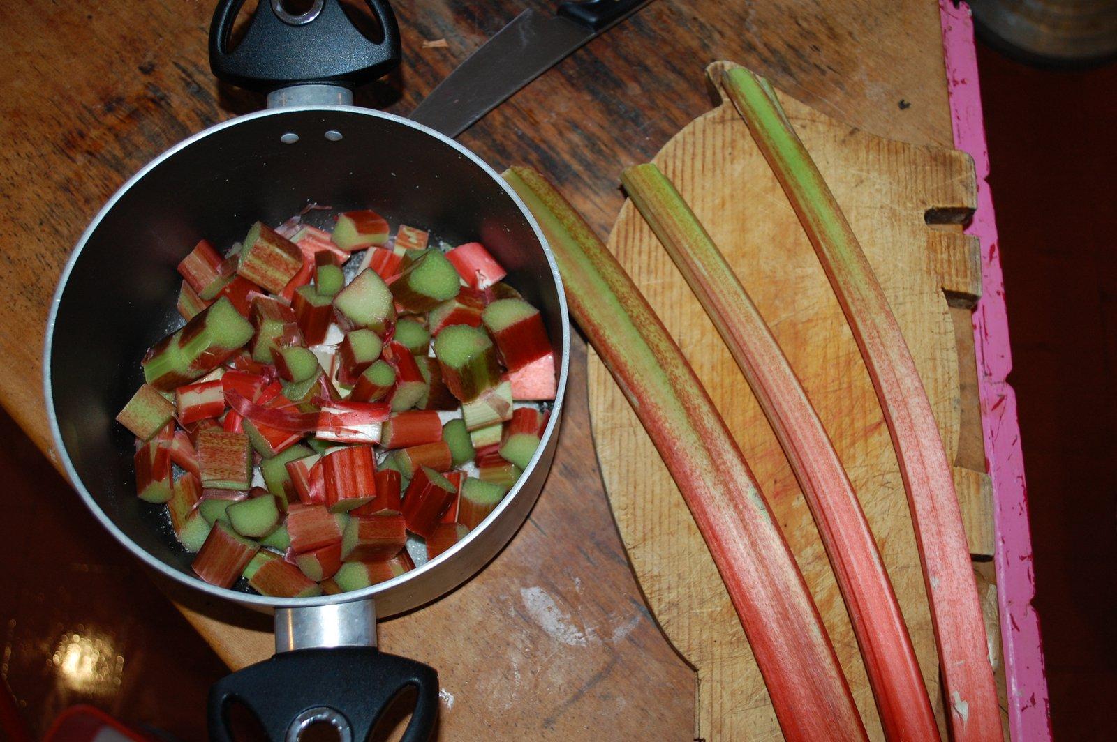 Chopped Rhubarb For Making Crumble