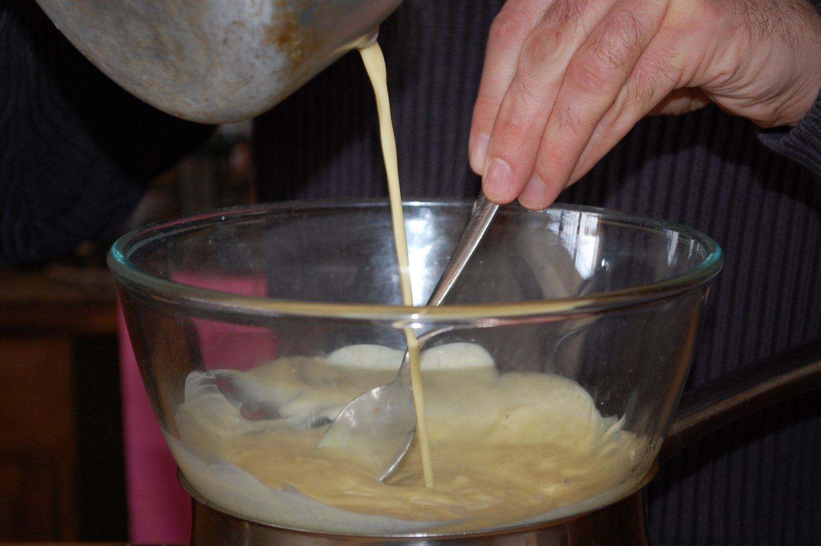 Mixing Cream Into Melted White Chocolate
