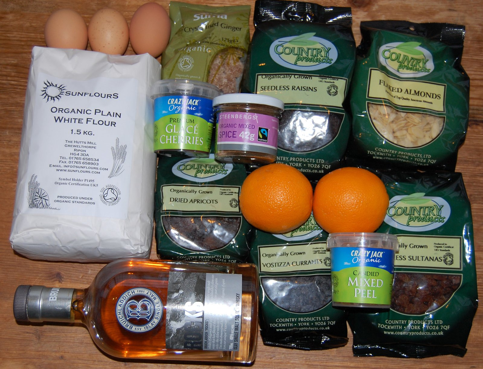 Selection of ingredients for Christmas cake