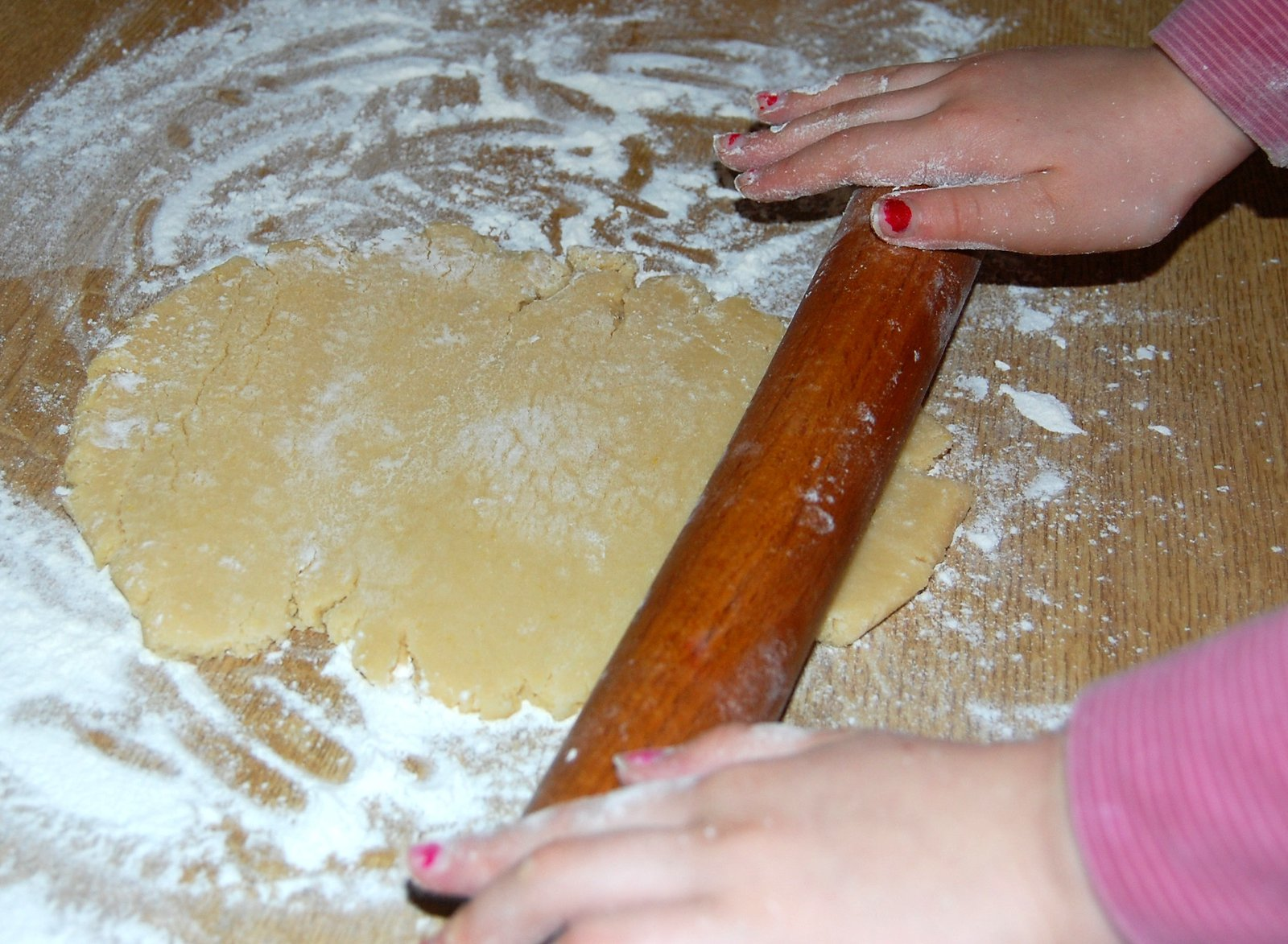 Rolling out the biscuit pastry