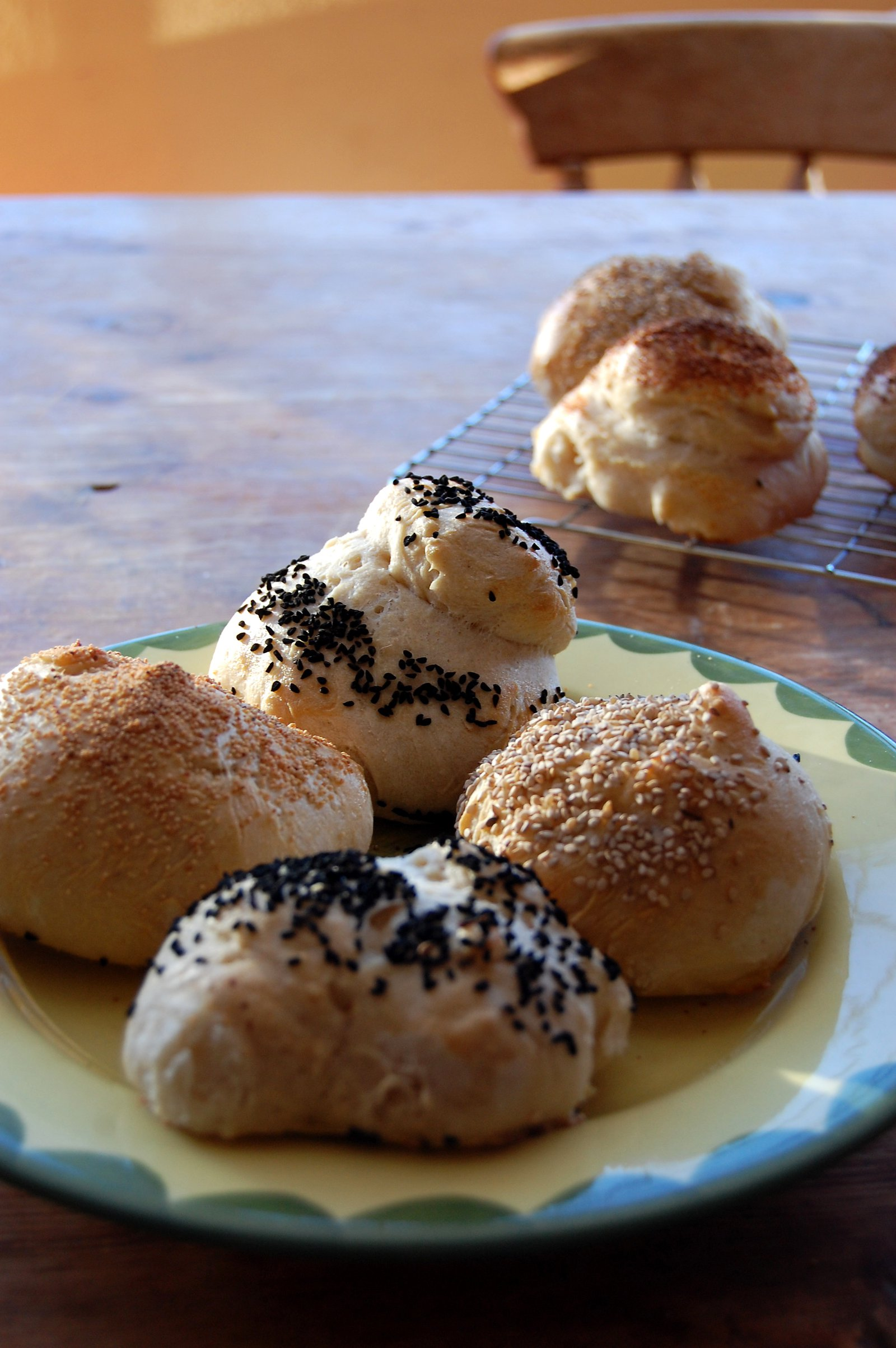 Organic seeded rolls fresh from the oven