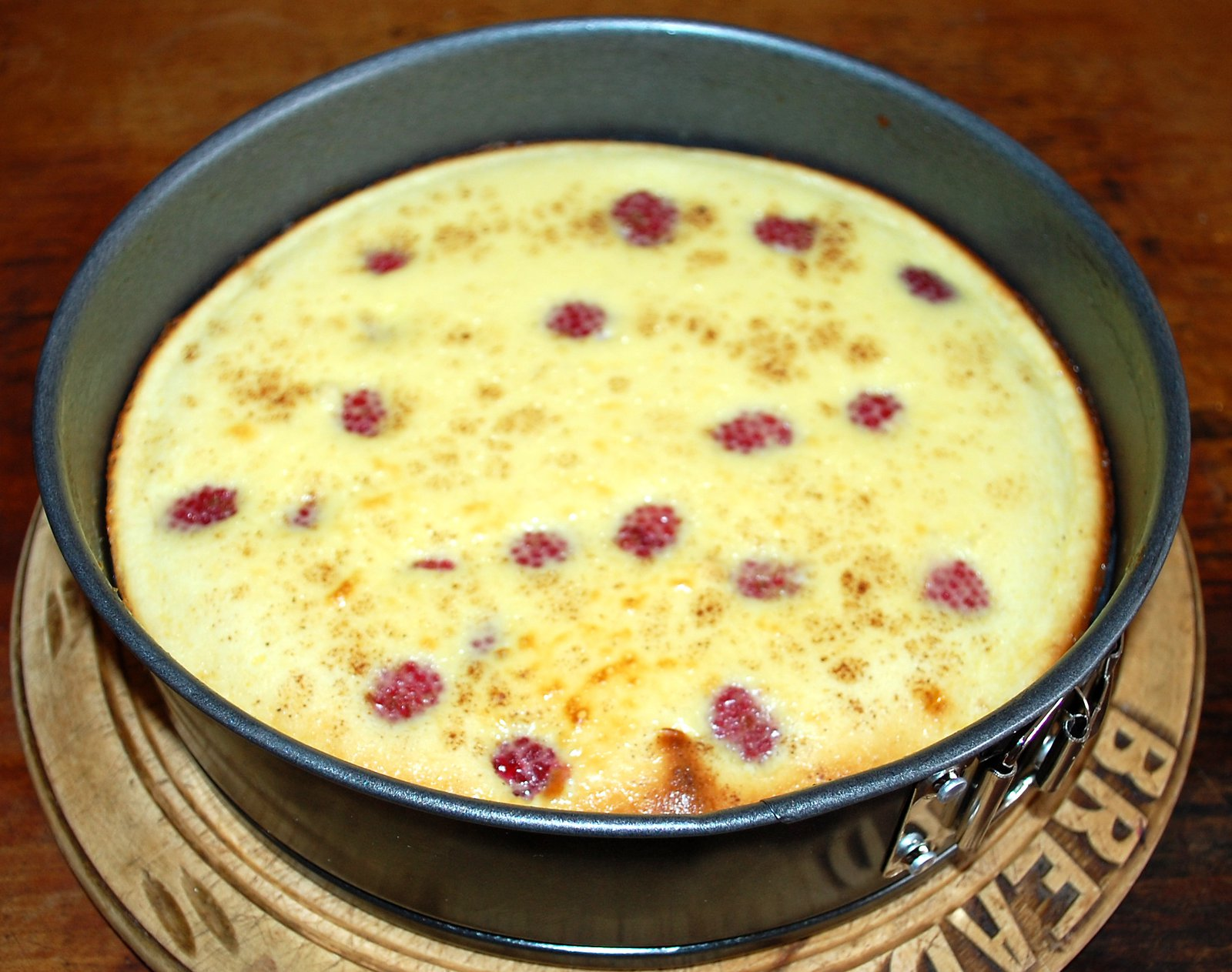Baked cheesecake just out of oven