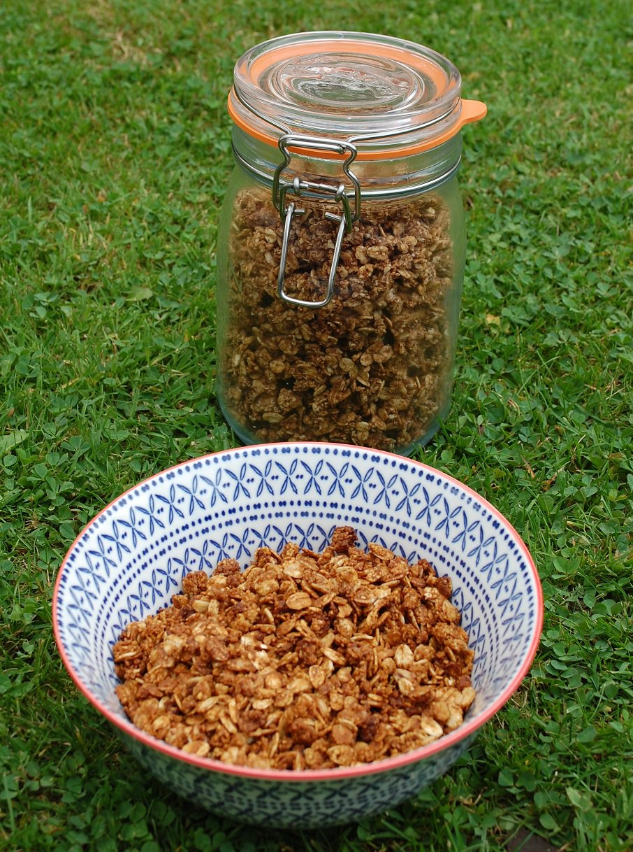 Two types of home-made granola  - coconut nectar (front) and maple syrup (kilner jar)