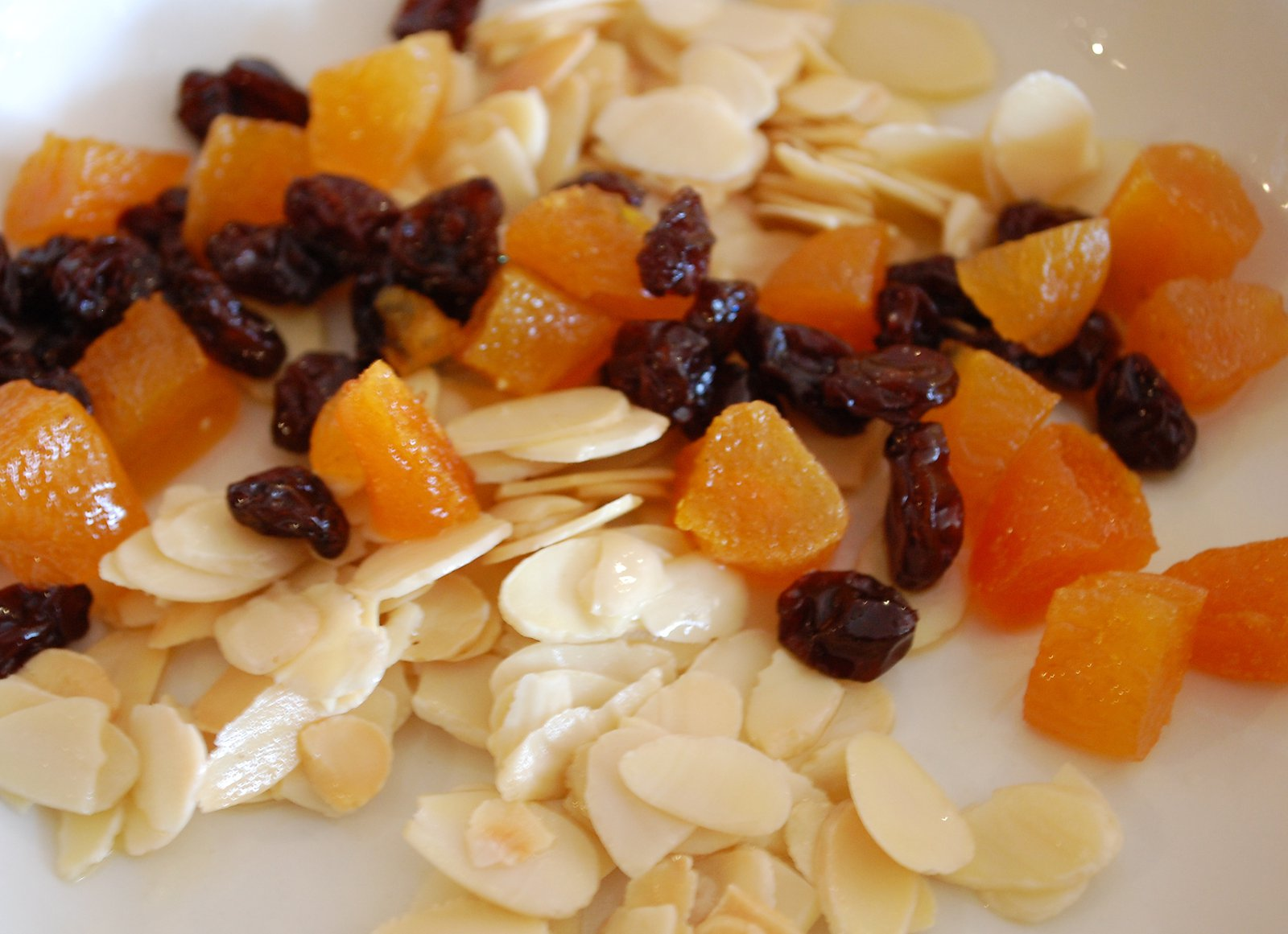 Lightly Fried Almonds, Apricots and Raisins