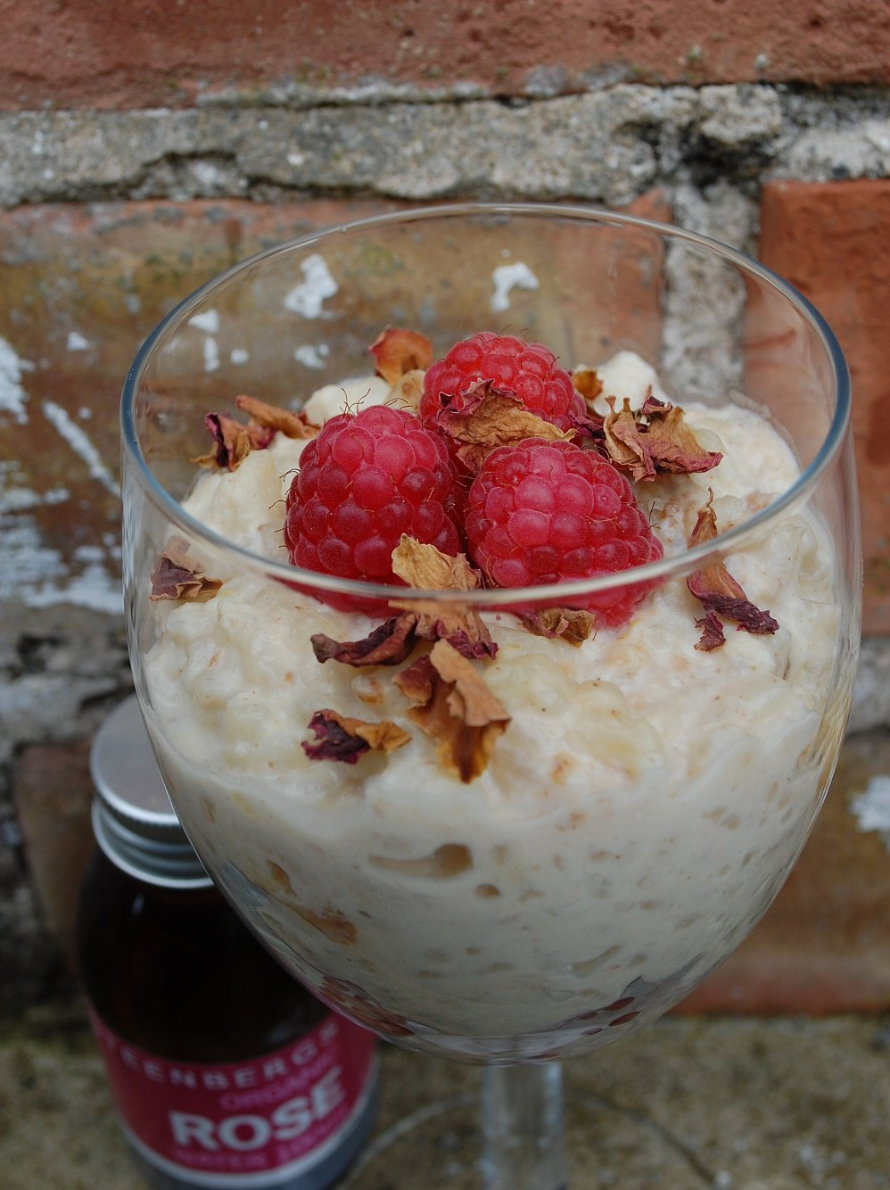 Rose Rice Pudding With Raspberries