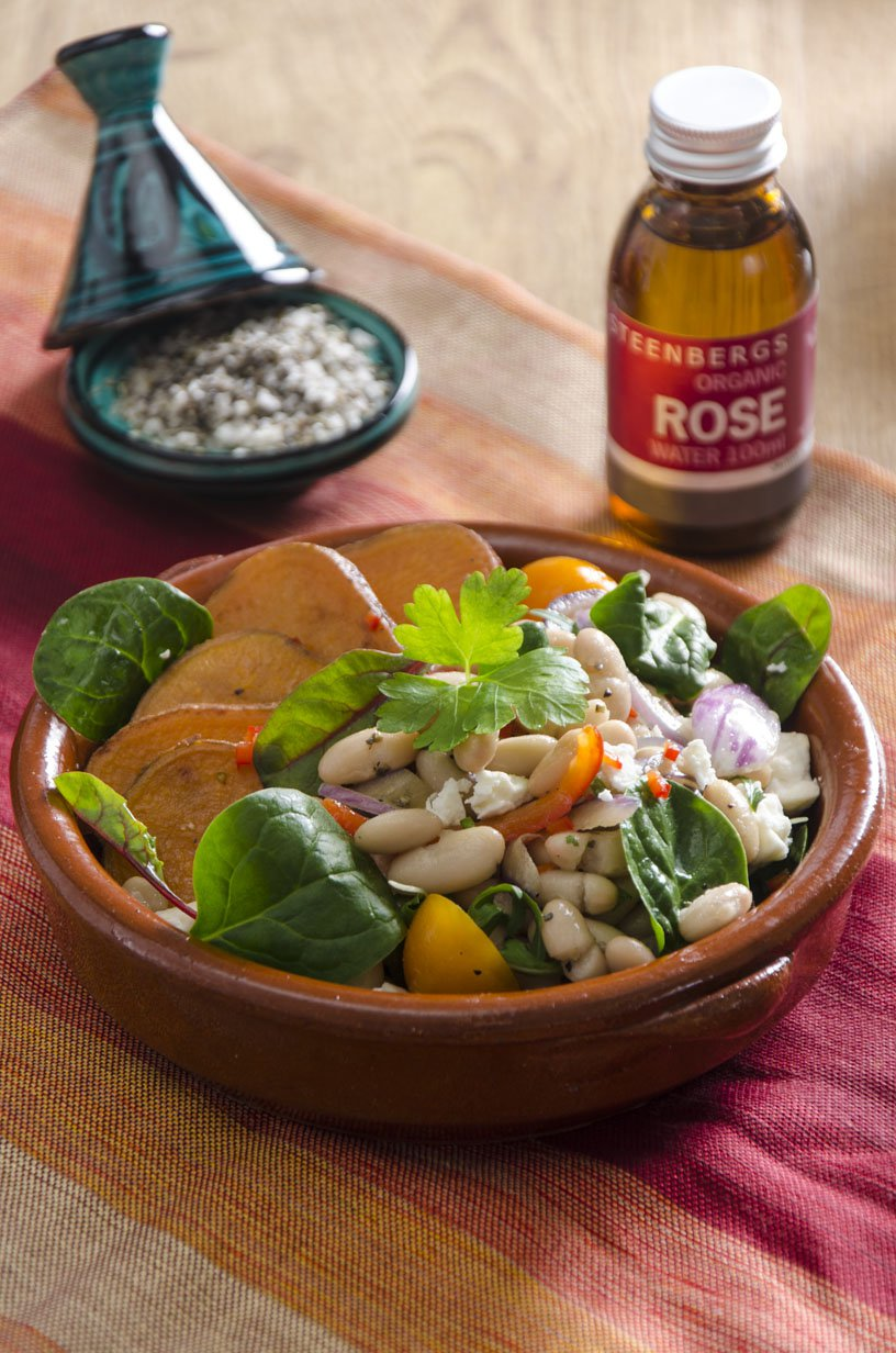 Steenbergs Sweet Potato & Spinach salad with Rose Water