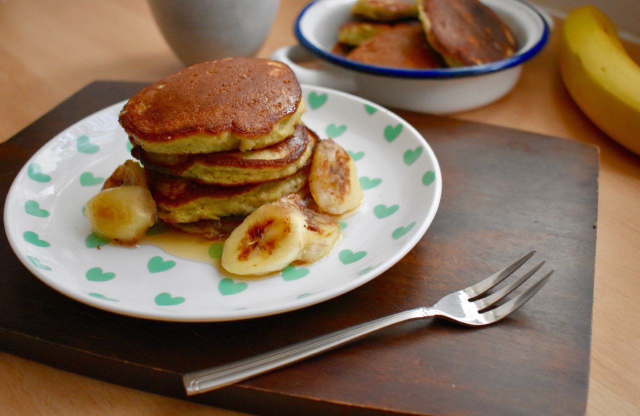 Gluten free Banana Pancakes from NikiBakes, featuring Steenbergs Organic Fairtrade Vanilla Extract