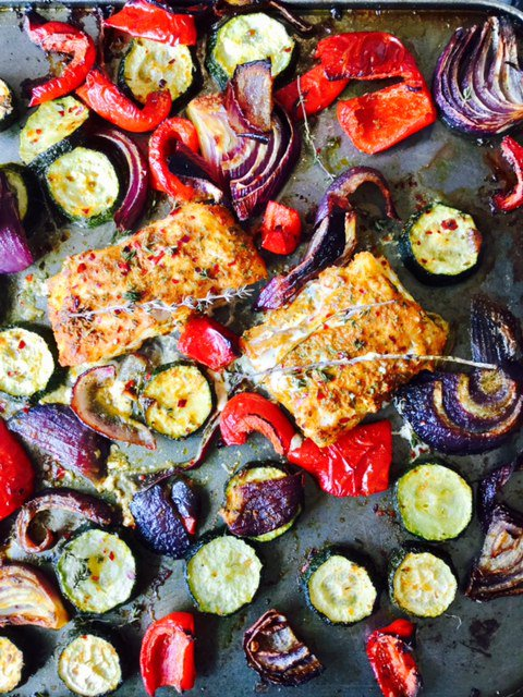 Recipe for Steenbergs Organic Chermoula crusted fish with Mediterranean vegetables.