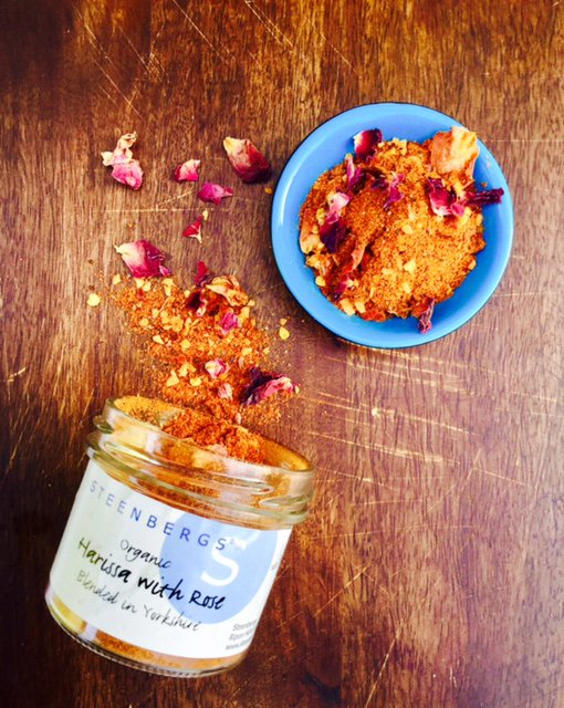 Steenbergs Organic Harissa with Rose Spice Blend, created and blended in North Yorkshire.