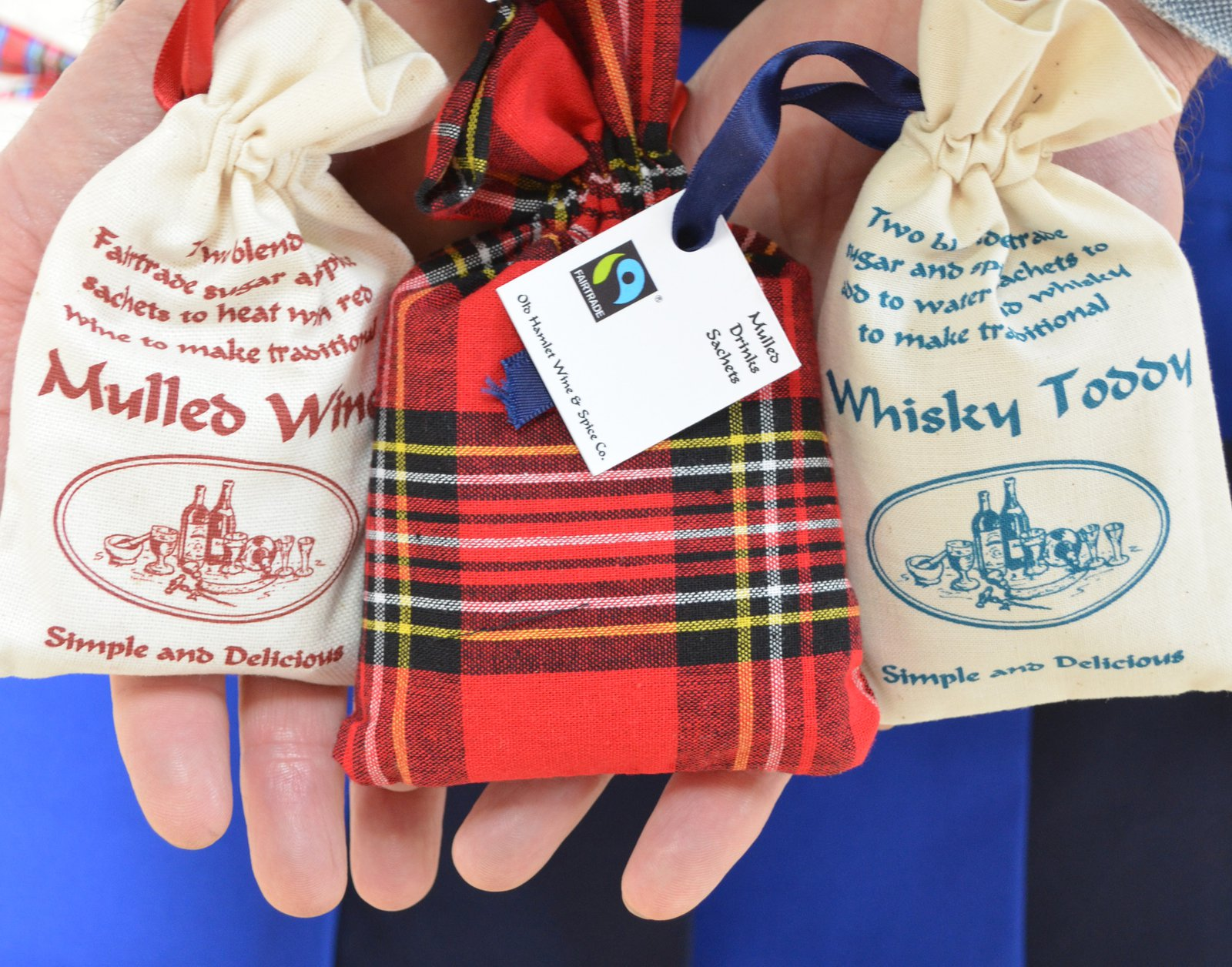 Old Hamlet Wine and Spice product range includes Fairtrade mulling wine and cider sachets in their distinctive cloth bags, made in the UK.