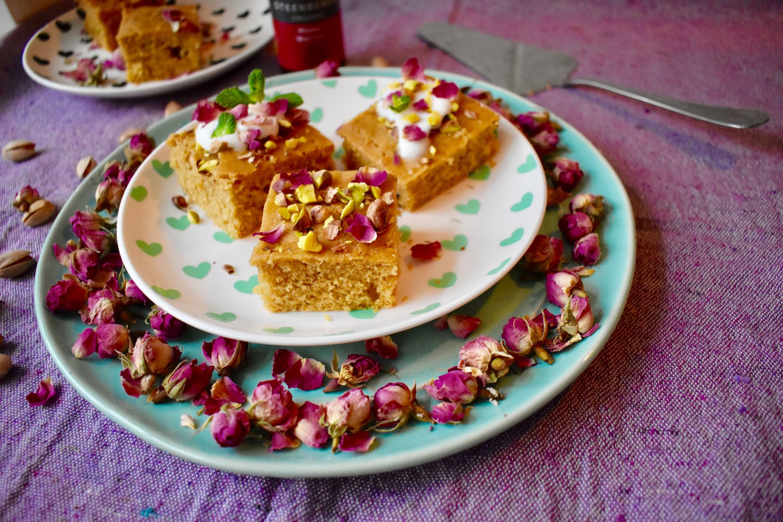 Yazdi squares are gluten free and dairy free, flavoured with organic rose water, ground cardamom and organic Fairtrade vanilla extract