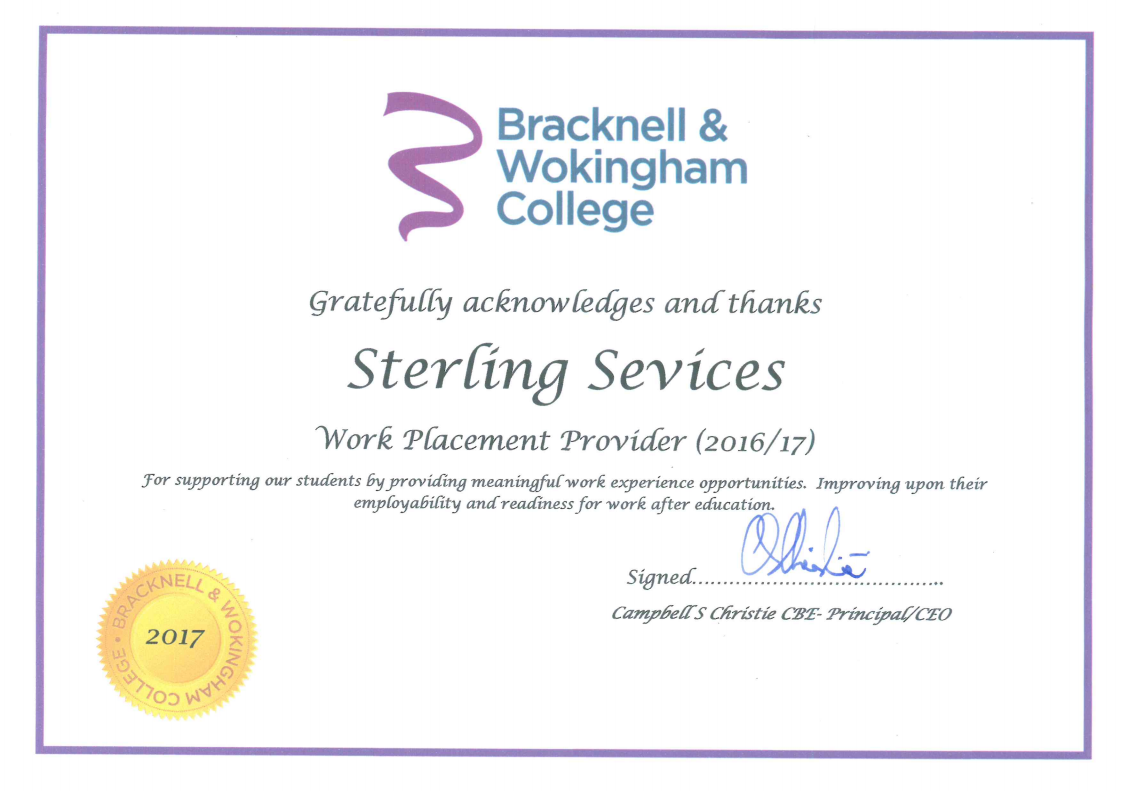 Sterling Certified As Work Placement Provider Sterling Services Ltd