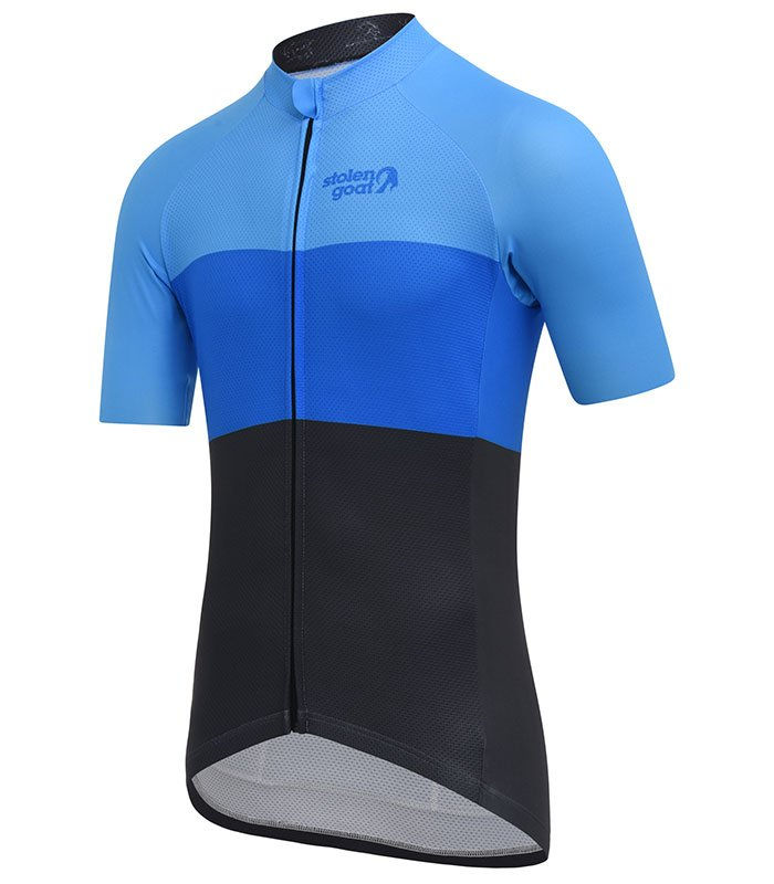 stolen goat industry blue cycling jersey