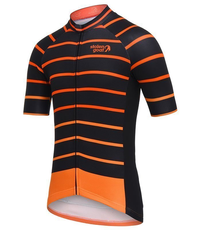 stolen goat cortado orange cycling jersey