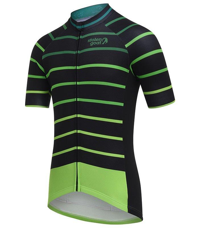 stolen goat cortado green cycling jersey