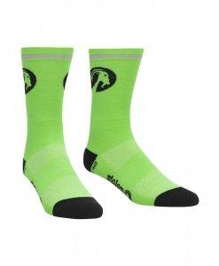 stolen goat fluoro green merino socks
