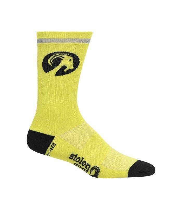 stolen goat fluoro yellow merino socks