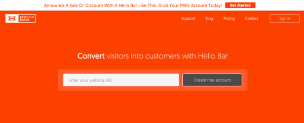 Hello bar example for a way to increase sales on your website