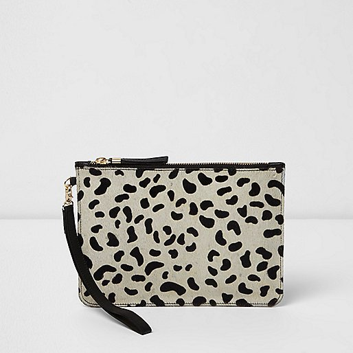 Cream Leopard Print Pony Skin Clutch Bag fde1a79d374ee