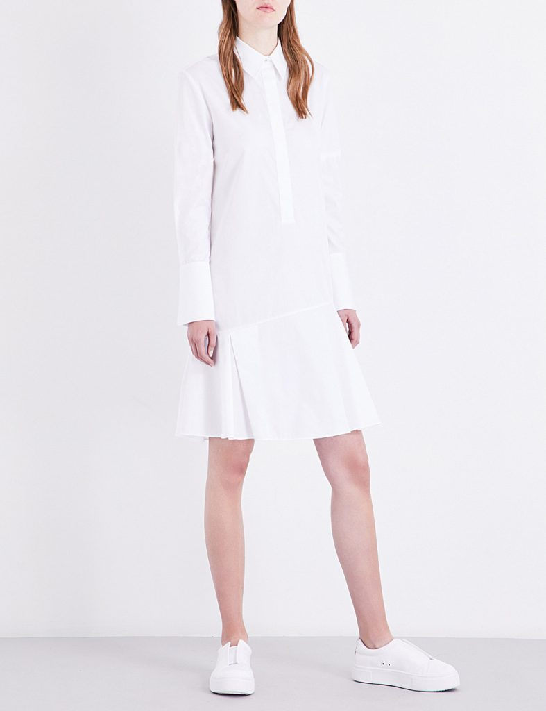 Victoria Victoria Beckham Pleated Cotton Poplin Shirt Dress 375
