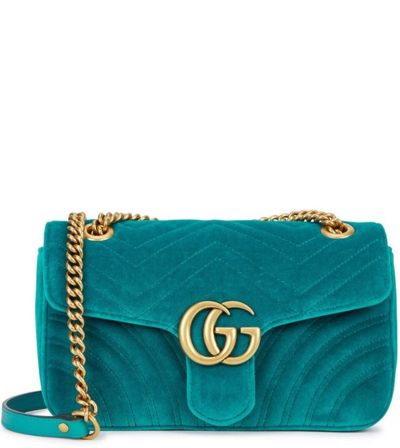 7f8eeaef8 Gucci GG Marmont small teal velvet shoulder bag, £1,050, Harvey Nichols.  3rd August 2017. 0 · 0