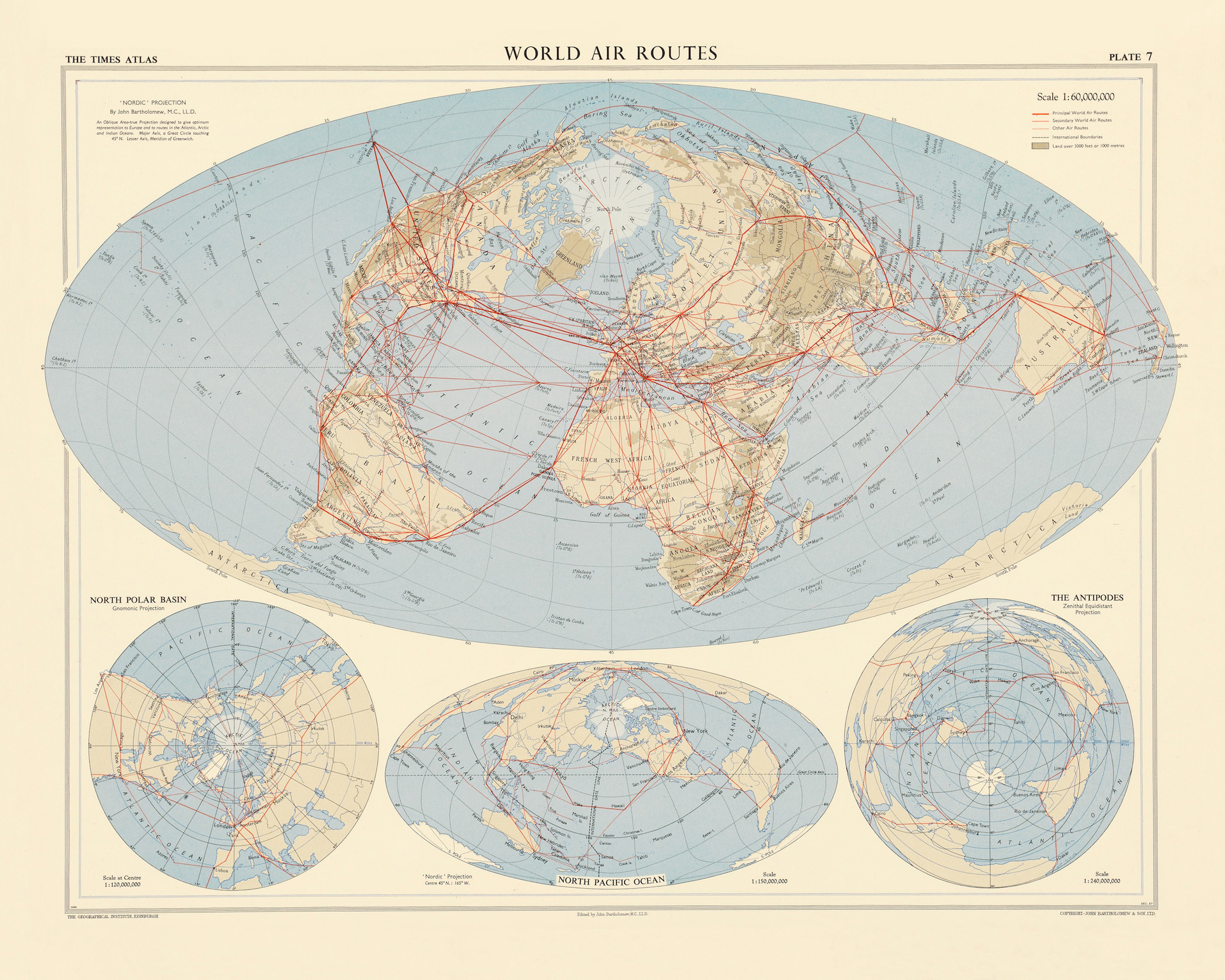 Murals of World Air Routes by Vintage Maps (3000mm x 2400mm) | Shop ...