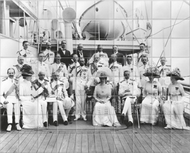 King George V and Queen Mary and the Royal party on board P&O Medina