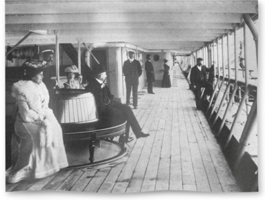Passengers on the promenade deck of Rome