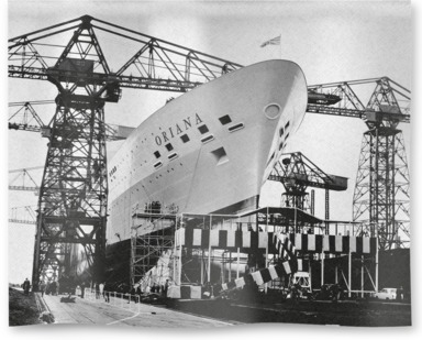 Preparations for the launch of Oriana on 3rd November 1959