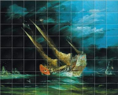 A trading junk at sea